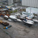 6762   Yachts on trailers in a boatyard