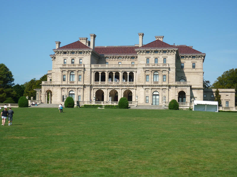 Rear view of the external facade of The Breakers Mansion, Newport , Rhode Island built by the Vanderbilts and now a national monument