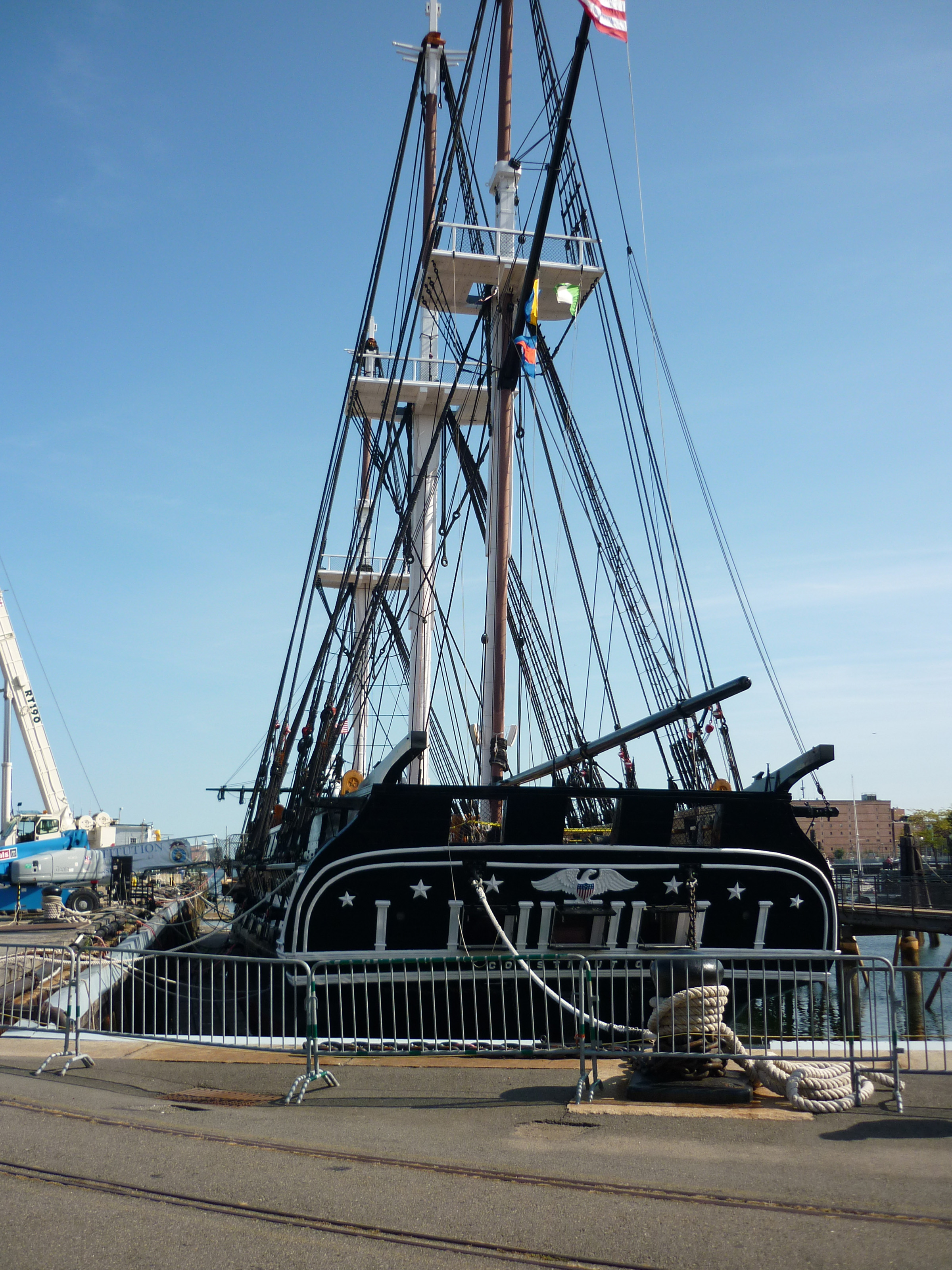 free stock photo 6639 uss constitution tied to the wharf