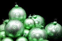 6818   Pretty shiny green Christmas baubles