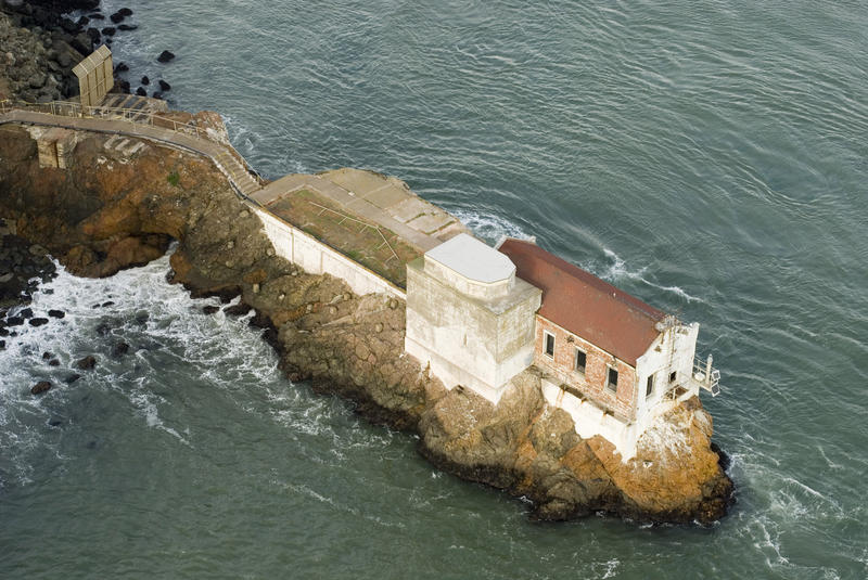 navigation lighthouse at lime point, north end of goldengate, san francisco bay