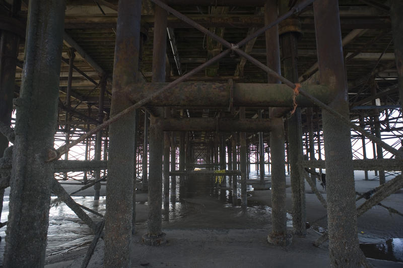 View of the supports and structure under the historic Blackpool pier