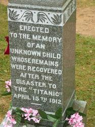 6750   Memorial headstone to a Titanic victim