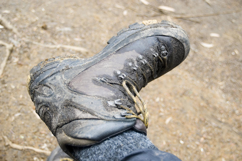a hiking boot after a long day walking
