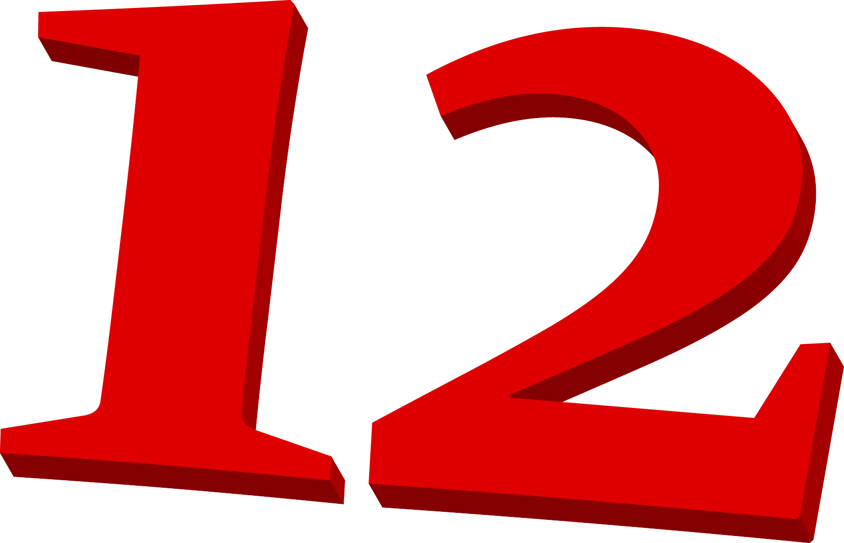 <p>Illustrated number 12 in red colours. <br /> For use