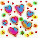 9299   abstract painted heart doodles