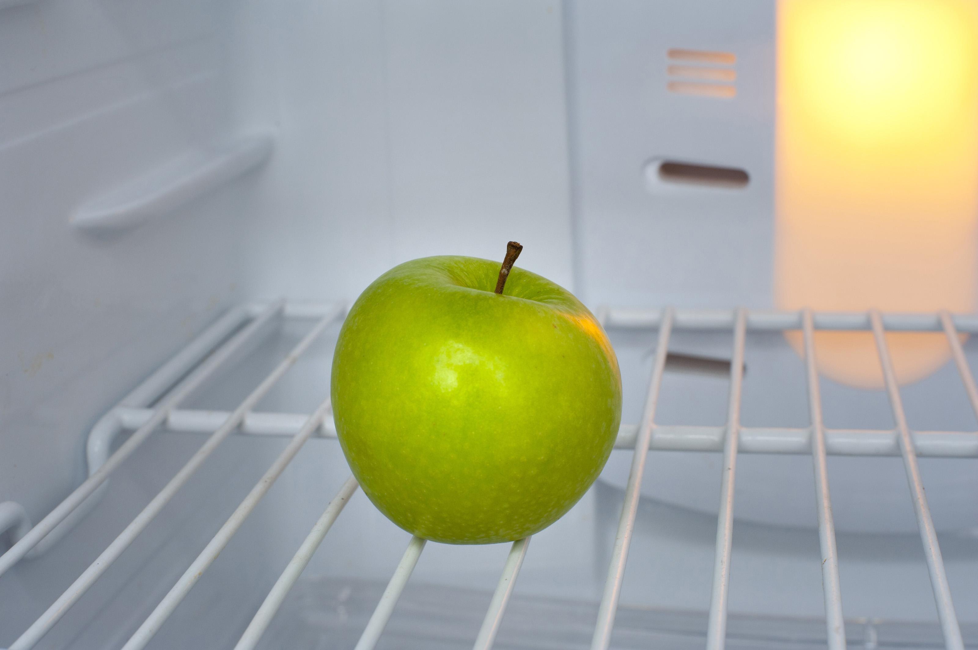 Free Stock Photo 8220 Green Apple In An Empty Fridge