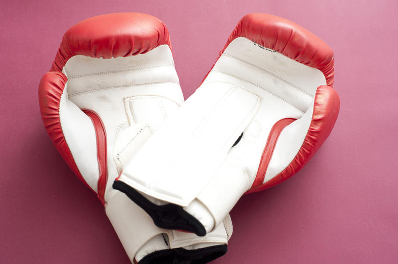 10980   Red and White Boxing Gloves on Pink Background