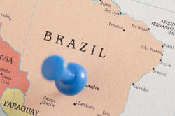 10679   Blue Thumb Tack in Map of Brazil
