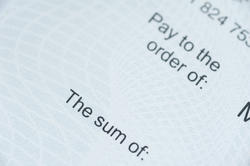 10806   Prints on a Cheque Emphasizing the Sum
