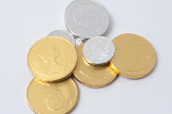 8646   Chocolate gold and silver replica coins