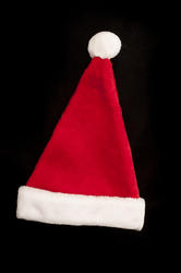 10568   Red and White Christmas Hat on Black Background