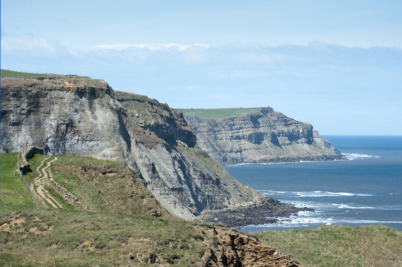 View of coastal cliffs with the Cleveland Way, a footpath running along the North Yorkshire coastline