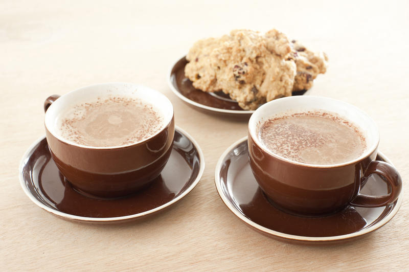 Delicious frothy coffee for two served in generic brown ceramic cups and saucers with a plate of crunchy cookies