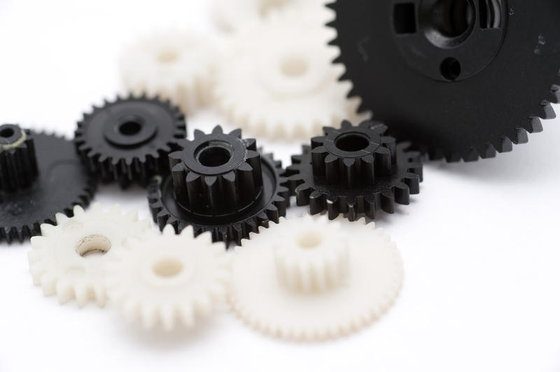 Close Black and White Assorted Gear Wheels for Teamwork Concept Design