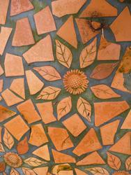 10914   Irregular Terracotta Tiles with Flower Design