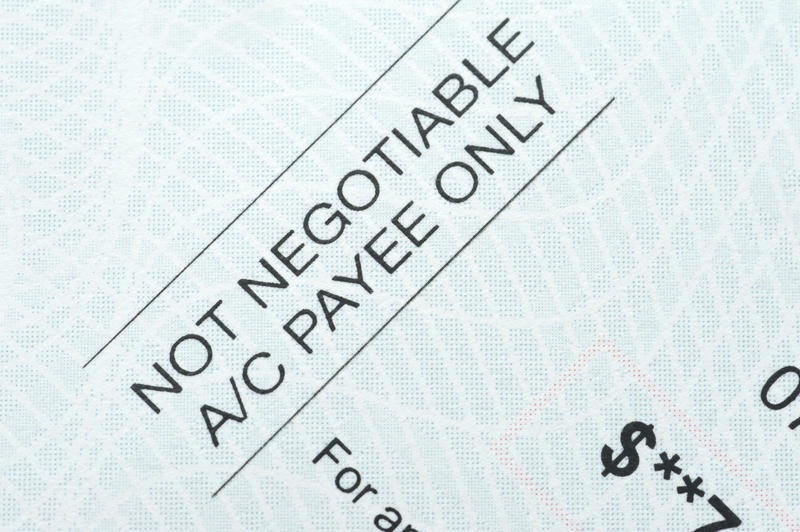 Not negotiable pre-printed cheque for payment to the account of the designated payee only