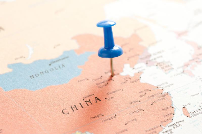 10683   Close up Blue Pin on the Map of China