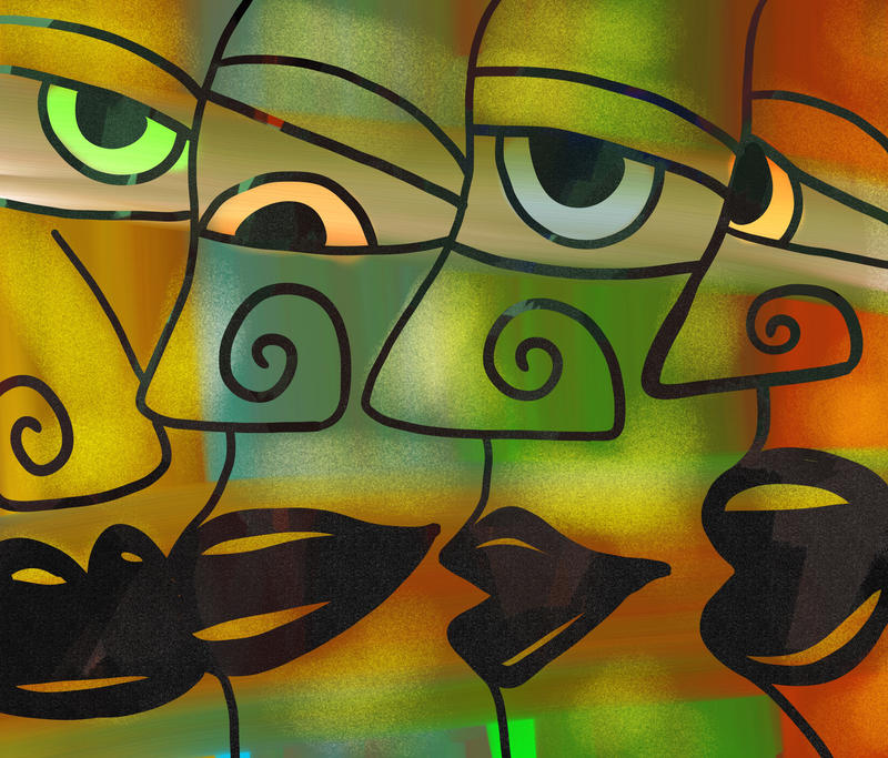 <p>Group of abstract diverse people faces.</p>