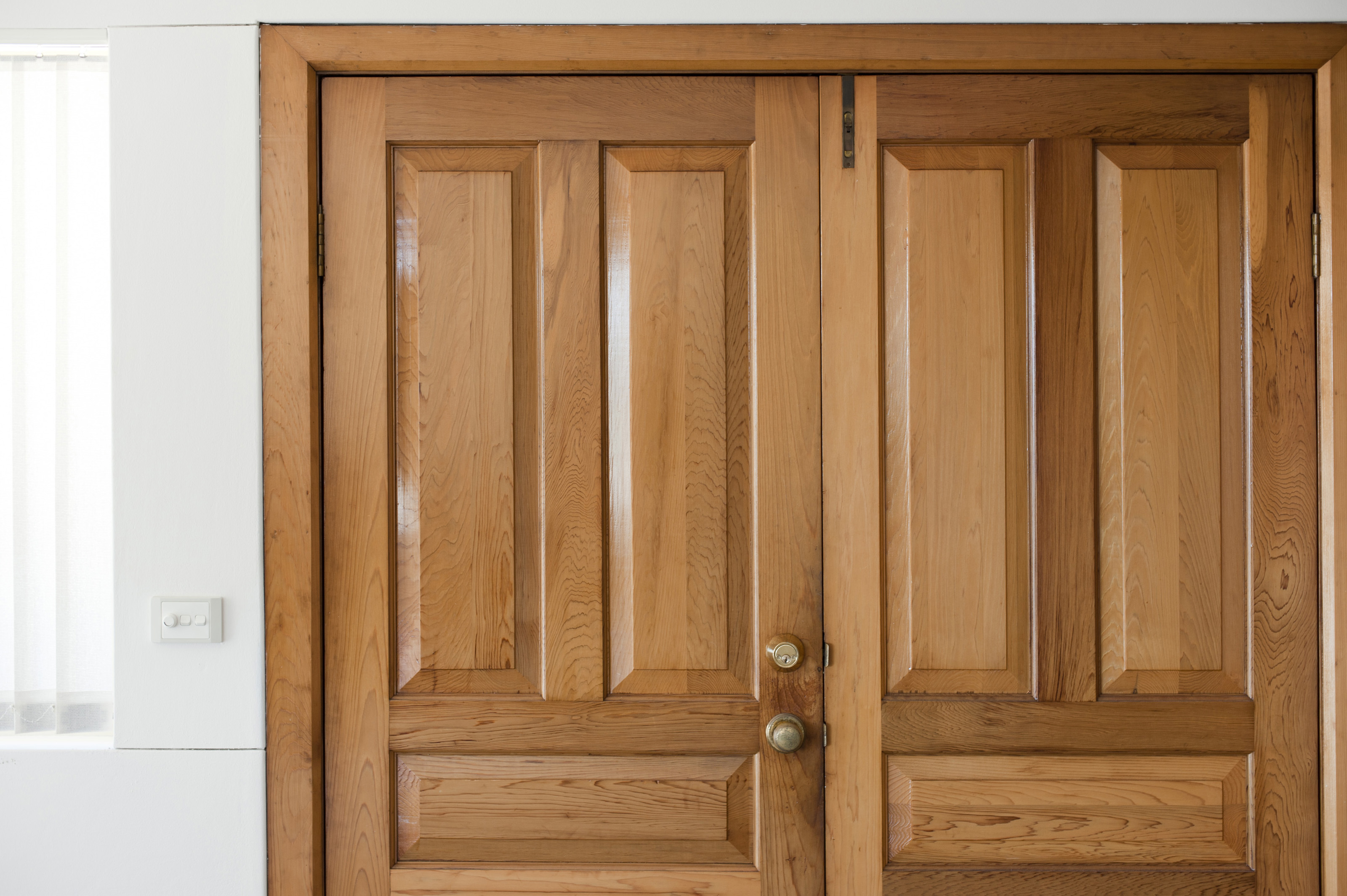 Free stock photo 10660 close up of a wooden front double for Entrance double door designs for houses