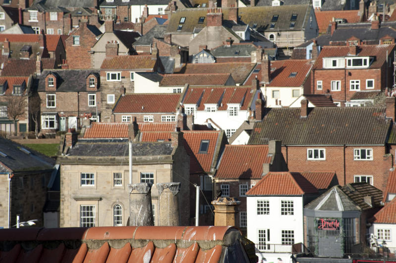Typical English urban houses with a view over the rooftops of Whitby in North Yorkshire