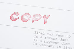 10810   Close up File Copy of Tax Paper with Label