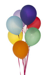 10575   Bunch of colorful party balloons isolated on white