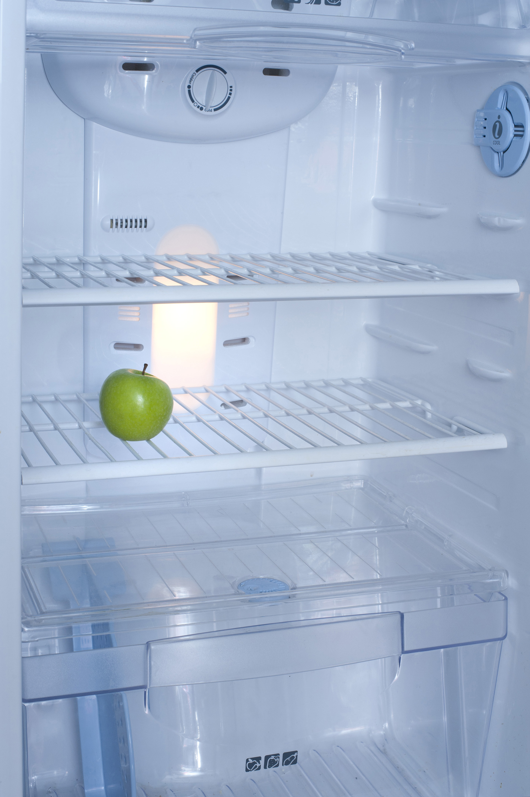 Free Stock Photo 8219 Interior Of A Fridge With A Green Apple Freeimageslive