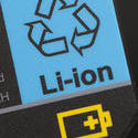 11110   Blue Recycle Label and Lithium Ion Battery Symbol