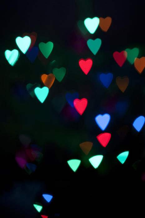 10577   Glowing Heart Shape Lights at Night