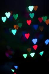 10577   Glowing Heart Shape Lights at Night