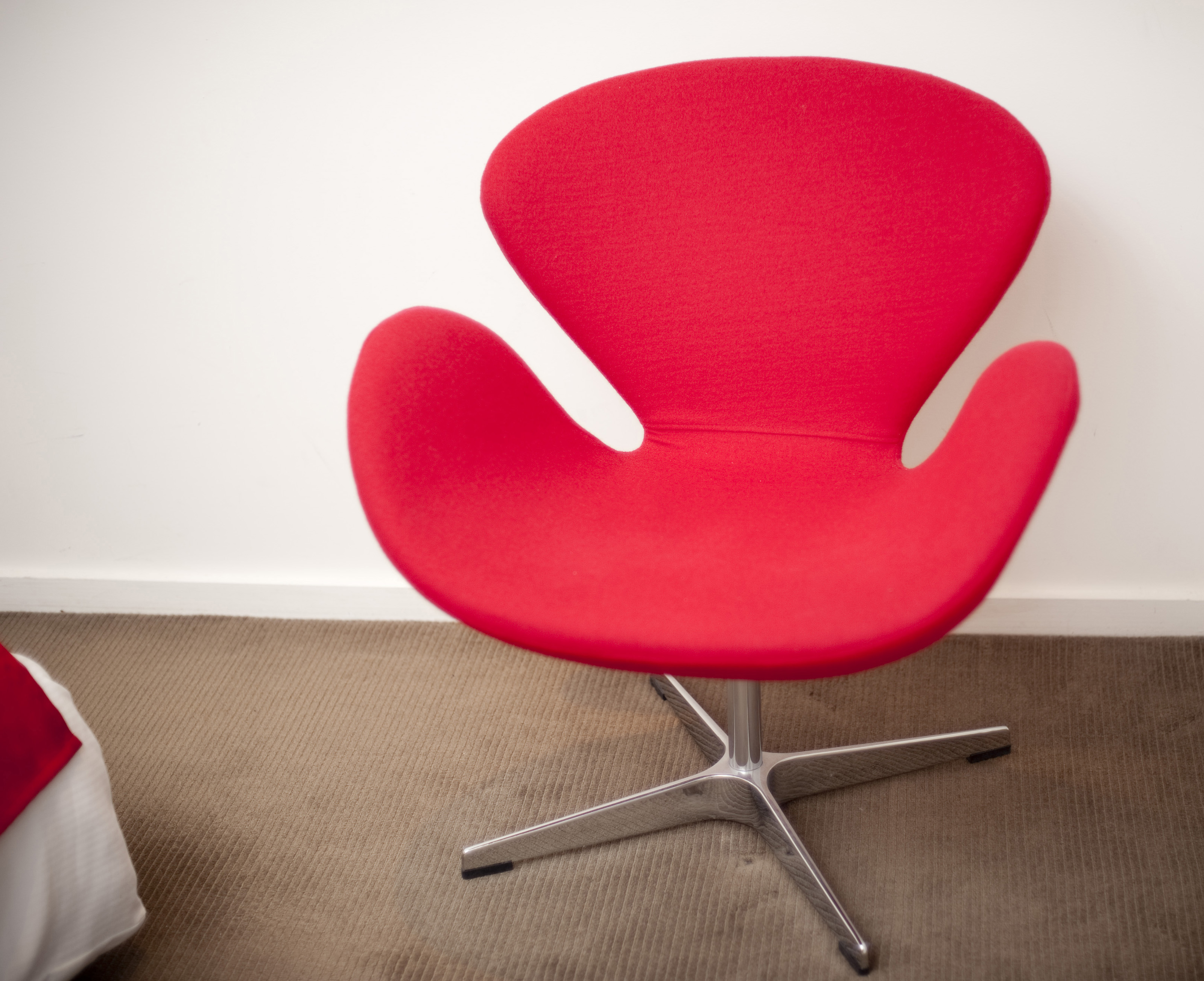 modern retro furniture. Modern Retro-style Furniture With A Bright Red Modular Chair On Steel Base Against Retro I