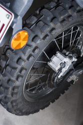 11137   Close up Brand New Motorbike Back Wheel