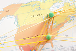 10738   North America Links Concept Using Map and Pins