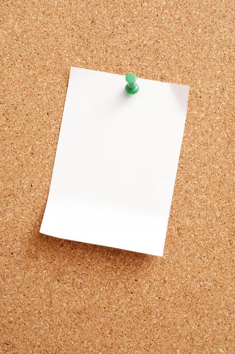 10818   White Blank Paper Pinned on Cork Note Board