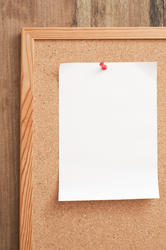 10821   Blank White Paper Pinned on Notice Board
