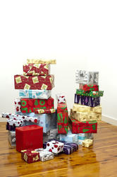 8635   Stack of colourful Xmas presents and packages