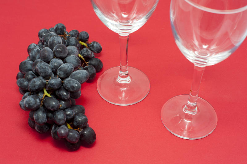 Close Up of Bunch of Dark Red Grapes on Red Studio Background Next to Two Empty Wine Glasses with Copy Space
