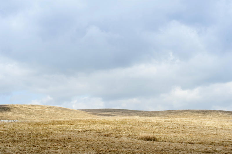 Landscape view of the open rolling moorland around Ribblehead in the North Yorkshire moors