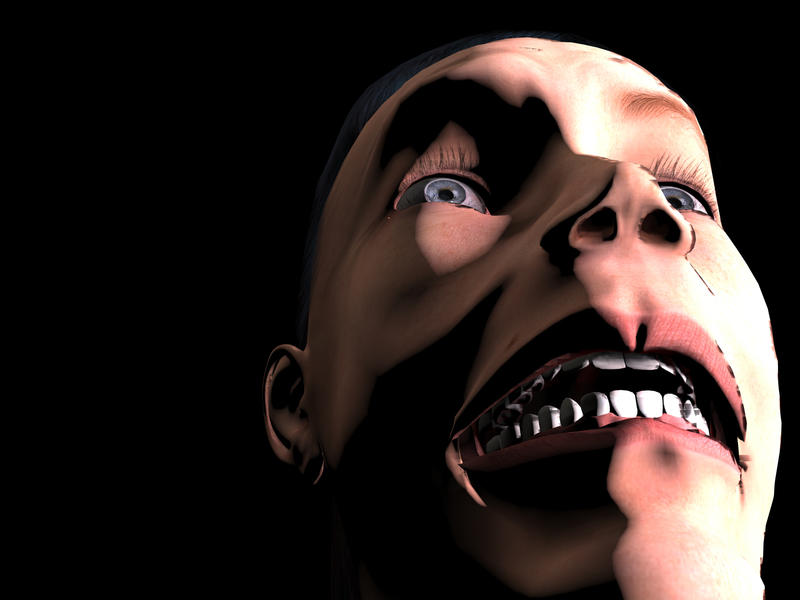 <p>3d digital illustration of a close up of a person with a fearful look on their face.</p>