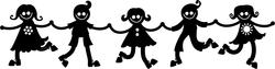 9487   silhouette kids holding hands