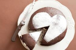 10579   Sliced Chocolate Cake with Heart Shape on Top