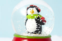 8636   Cute little penguin in a shaken snow globe