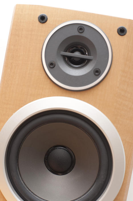 Close Up Detail of Front of Speaker as Part of Audio Entertainment System