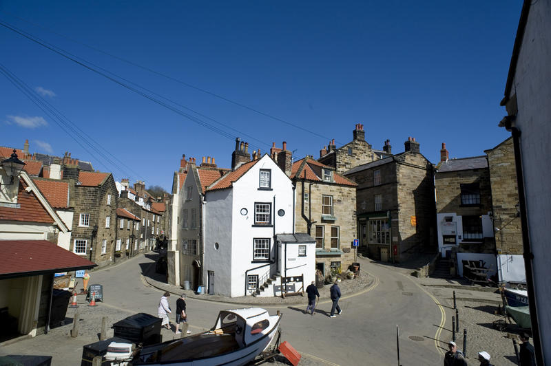 Street scene in Robin Hoods Bay, a quaint little fishing village on the North Yorkshire coast