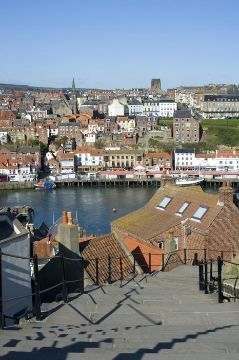 View of the harbour and town from the 199 Steps in Whitby which lead from Church Street in the town up Tate Hill to St Mary's Church
