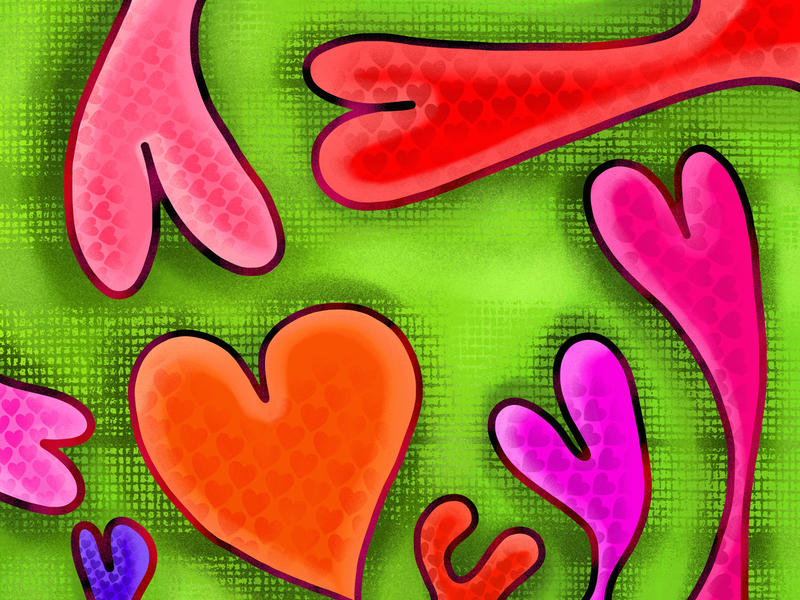 <p>Hand painted love heart doodle background.</p>