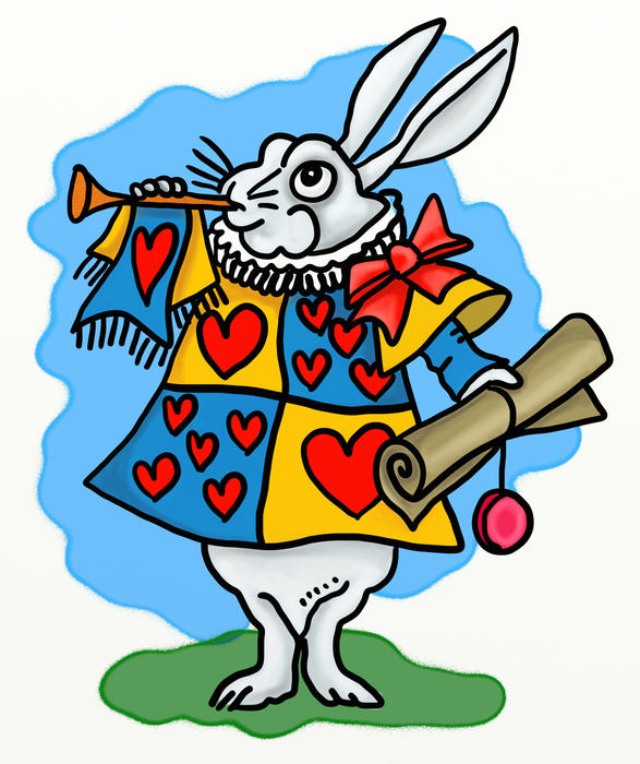 <p>Cartoon version of the white rabbit from Alice in Wonderland.</p>
