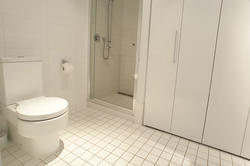 10667   Monochromatic white bathroom interior