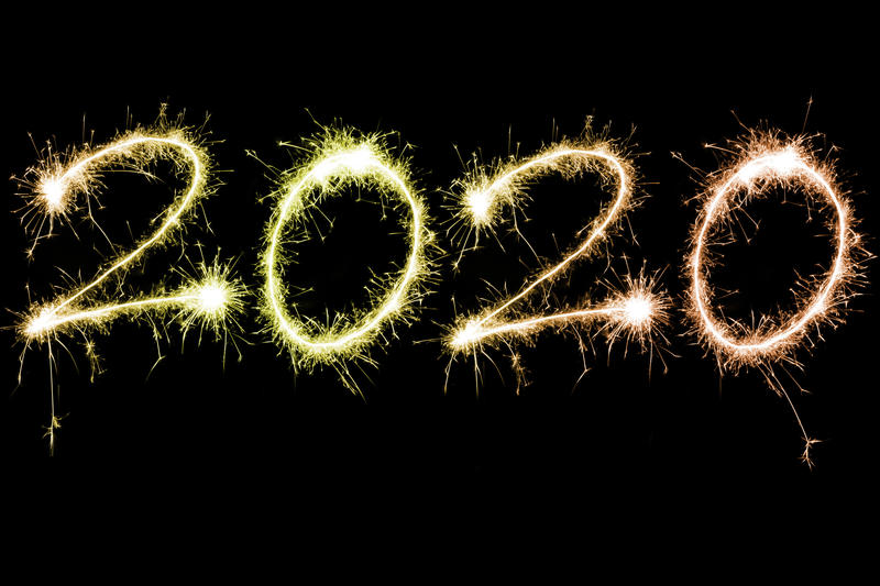 Blazing or sparkling bright 2020 new year celebration theme over black background